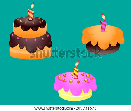 Set of cakes and cupcakes with icing and decoration