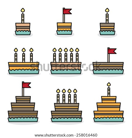 Set of cakes. Vector illustration.