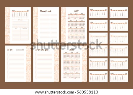 Set Of Calendar 2017 Daily Planner Template With Pages 2017 And 2018 Years.  To Do  Planner Format