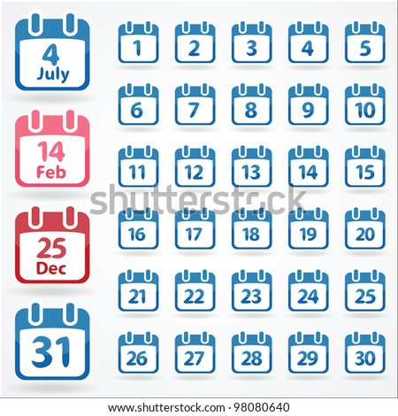 Set of calendar icons for every day. Vector illustration - stock vector