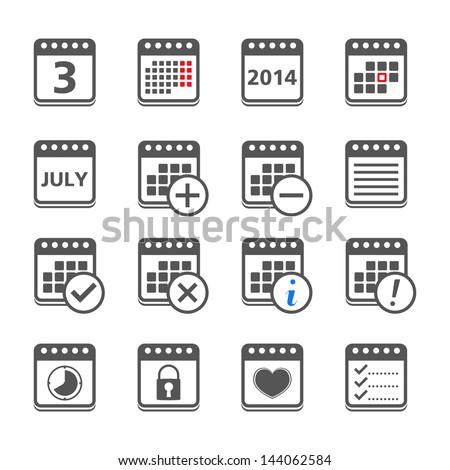 Set of calendar icons, vector eps10 illustration - stock vector