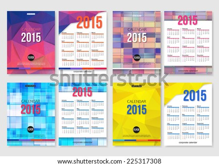 Set of 2015 calendar template brochure geometric design. Modern back and front flyer backgrounds. Vector illustration. - stock vector