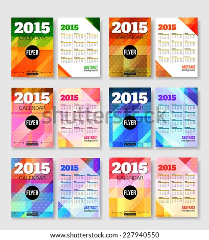 Set 2015 Calendar Template Brochure Geometric Stock Vector