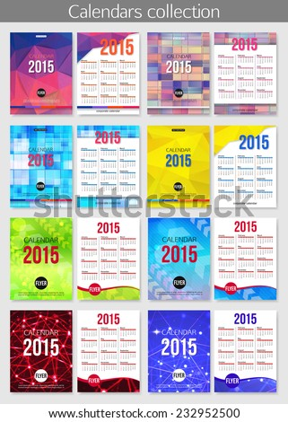 Set 2015 Calendar Template Brochure Design Stock Vector 226955842
