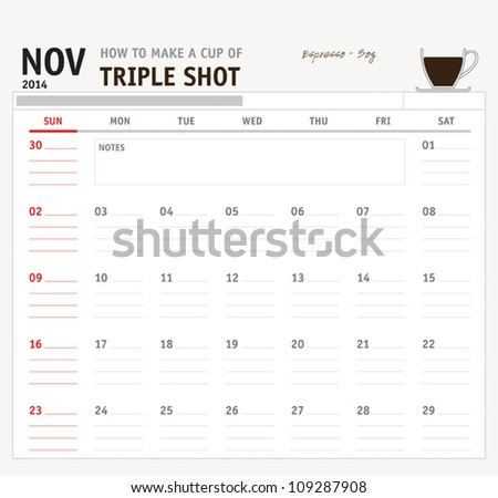 Set of calendar with espresso and coffee design for year 2014 - stock vector
