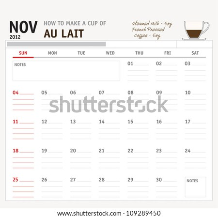 Set of calendar with espresso and coffee design for year 2012 - stock vector