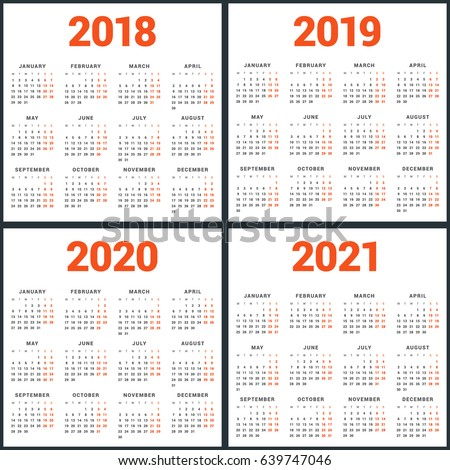 Nyc School Calendar 2020 2021.Set Calendars 2018 2019 2020 2021 Stock Vector 639747046