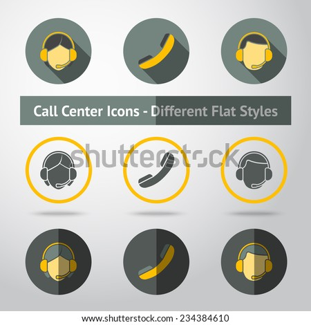 Set of call center icons in different flat styles. Vector - stock vector