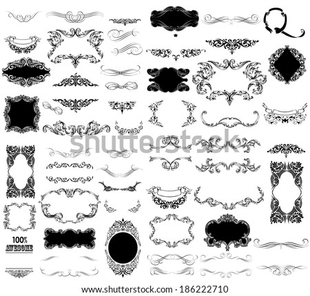 Set of calligraphic and floral design elements can be used for invitation, congratulation - stock vector