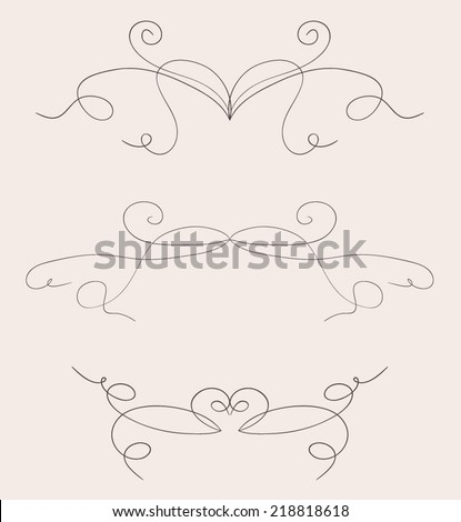 Set of calligraphic and typographic elements. - stock vector