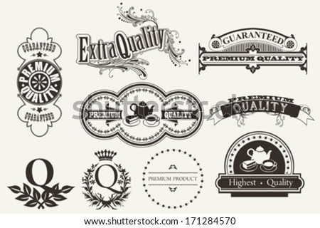 Set of calligraphic and typographic elements, frames, vintage labels. Vector - stock vector