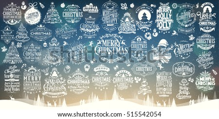 Set Of 40.Calligraphic And Typographic Hand Drawn Christmas And New Year Decoration Design Labels With Symbols And Icons Elements