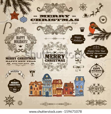 Set of calligraphic christmas decoration - stock vector