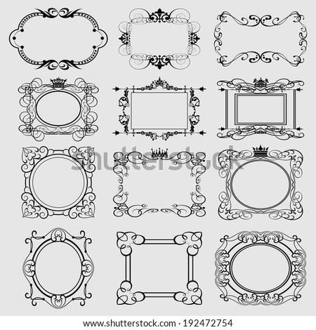 Set of calligraphic decorative frames, borders, banner, label, collection. vintage decorative elements victorian and baroque style. Vector illustration. - stock vector