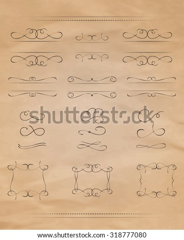 Set of calligraphic design elements. Calligraphic design elements and page decoration. Scroll Elements. Vintage swirl and curls. Useful elements to embellish layout. Vector. - stock vector