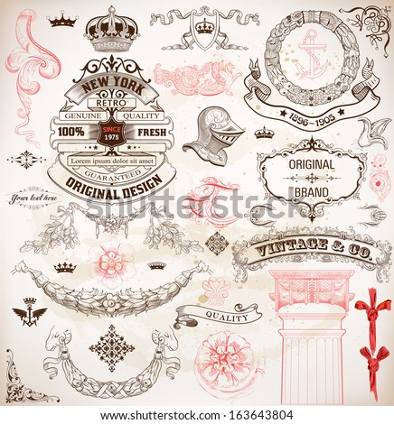 Set of calligraphic design elements: Heraldry, labels, baroque frames and floral ornaments collection. Elements organized by layers. - stock vector