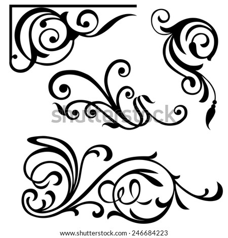 Set of calligraphic design elements. Page decor elements for calligraphy design. Vector.