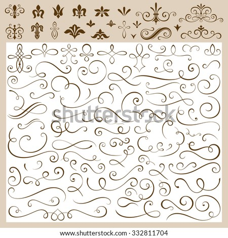 Set of calligraphic design elements vector illustration. Saved in EPS 8 file. Create your own design as you wish. - stock vector