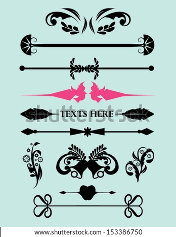 Set of Calligraphic Element with Page Dividers for Labels, Weddings and More  - stock vector