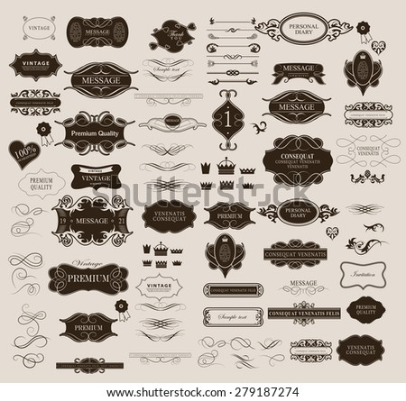 Set of calligraphic elements for design  can be used for invitation, congratulation - stock vector