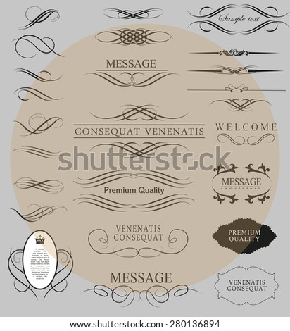 Set of calligraphic elements for design  can be used for invitation, congratulation
