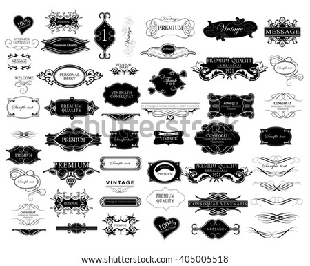 Set of calligraphic elements for design  can be used for invitation, congratulation calligraphic elements  calligraphic elements  calligraphic elements  - stock vector