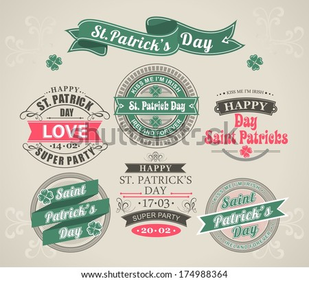 set of calligraphic Elements stamps of the holiday St. Patrick's Day  - stock vector