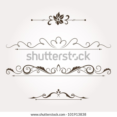 Set of calligraphic floral design elements and page decoration. Vector illustration - stock vector