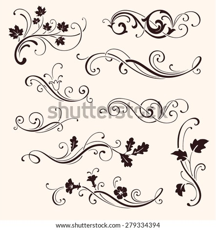 Set of calligraphic floral elements. Vector decorative twigs and flowers. Ornamental branches of trees