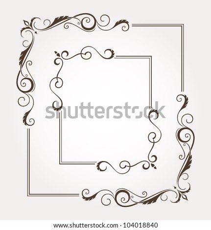 Set of calligraphic floral frames and page decoration. Vector illustration - stock vector