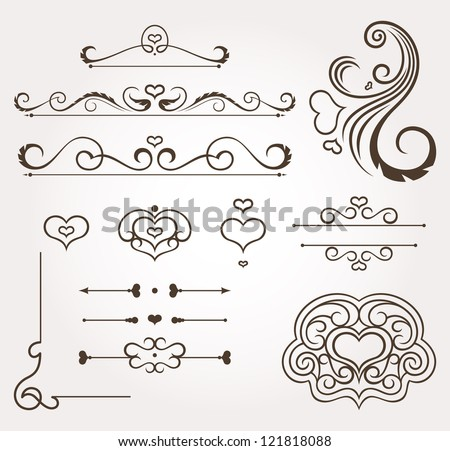 Set of calligraphic floral valentine's day design elements and page decoration. Vector illustration - stock vector