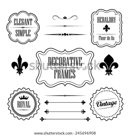 Set of calligraphic flourish design elements - fleur de lis, dividers, frames and borders - decorative vintage style vol. 2 - stock vector