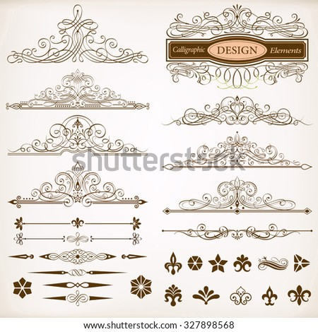 Set of Calligraphic Frames and Design Elements Vector Illustration. Saved in EPS 10 file with NO transparencies. All elements are separated and well constructed for easy editing. - stock vector