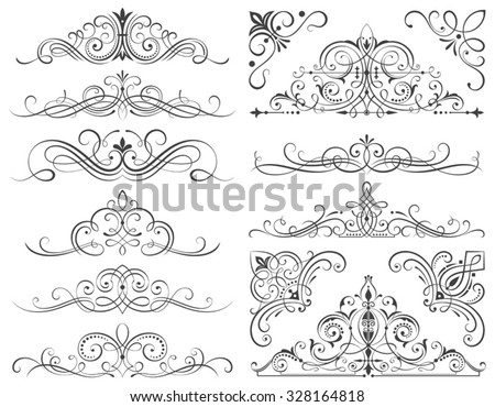 Set of calligraphic frames and scroll elements vector illustration with all separated elements.  - stock vector