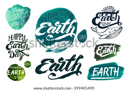 set of calligraphic handwritten inscriptions. greetings Happy Earth Day! watercolor background. print templates, stamp logo. Sea whales. Greenpeace, nature, ecology, world, design element, art, vector - stock vector