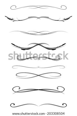 set of calligraphic lines dividers, vector illustration - stock vector