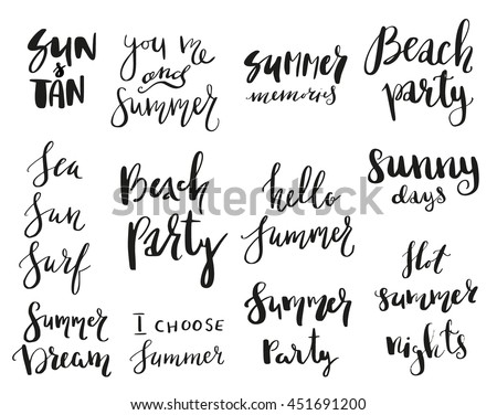 Beau Set Of Calligraphic Summer Theme Sayings In Stickers, Badges. Isolated  Vector Illustrations On White