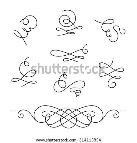Set of calligraphic swirls and dividers, decorative design elements, simple swirls and flourishes on white, vector scroll embellishment in retro style - stock vector