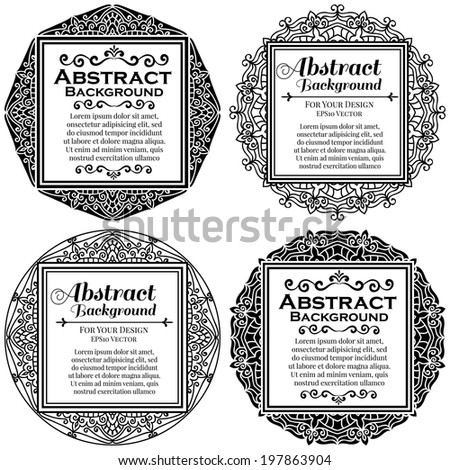 Set Of Calligraphic Vintage Ornate Elements For Design. 4 Frames - stock vector
