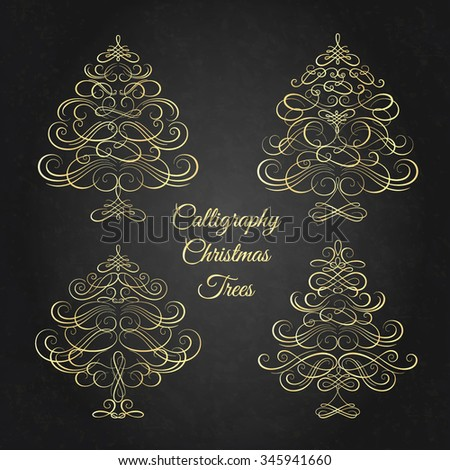 Set of Calligraphy Christmas trees. Vector illustration - stock vector