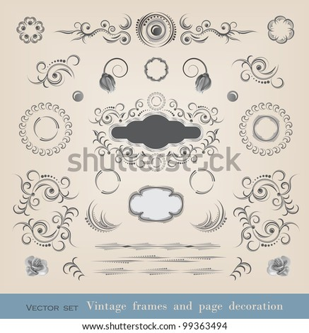 Set of calligraphy elements  and brushes - stock vector