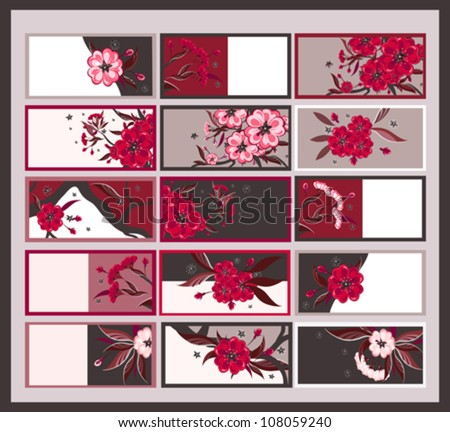 Set of 15 calling cards with stylized floral design.
