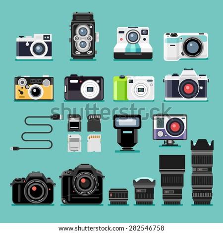 Set of camera flat icons. Vector illustration. - stock vector