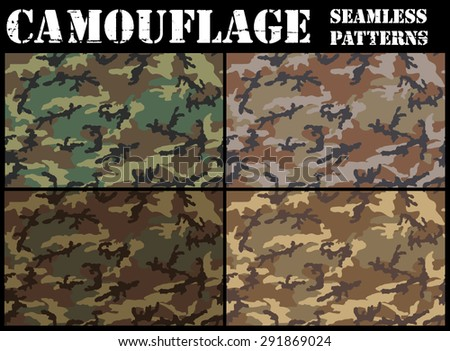 Set of camouflage seamless patterns. Woodland color scheme. - stock vector