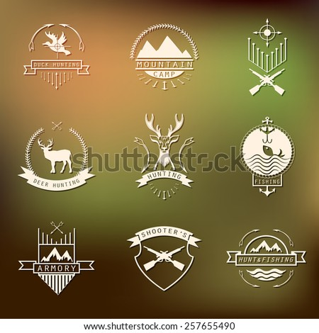 Set of camping and  hunting logos. Mountain camp,fishing, deer hunting, shooter's club labels, badges.  - stock vector