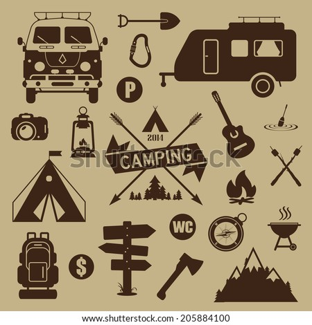 Set of camping equipment and icons. Summer camping. - stock vector