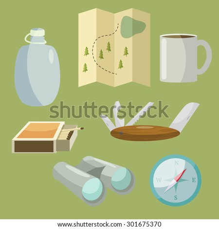 Set of camping equipment and objects in vector with binoculars, compass, map, matches, penknife, flask and cup.