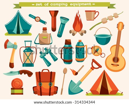 Set of camping equipment - tent, backpack, knife, flashlight and other. Vector tourism illustration. - stock vector