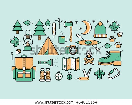 Set of camping icons.