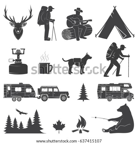 Set of Camping icons isolated on the white background. Vector illustration. Set include rv trailer, camping tent, man with guitar, dog, bear and forest silhouette.